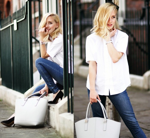 "Look ""cheio de estilo"" com um simples jeans e camisa (fonte: Lookbook.nu)"