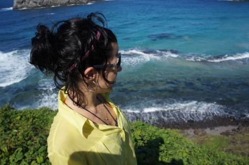 Encantada com a vista da primeira praia visitada - Praia do Leão